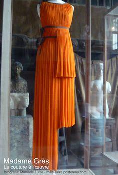 Madame Grès - La couture à l'œuvre exhibition in Paris 2011   Orange dress
