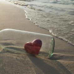 My heart belongs to the Ocean.❥ڿڰۣ--the ocean stirs the heart, inspires the… I Love Heart, With All My Heart, Happy Heart, My Love, Heart In Nature, Heart Art, Message In A Bottle, Am Meer, Love Symbols