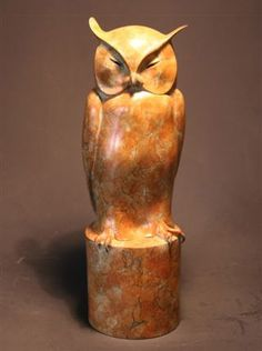 The White faced Scops Owl is one of the most beautiful of owls. This bronze shows it in its daytime repose. An edition of twelve.
