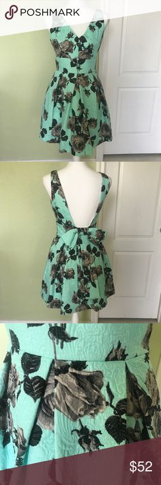 Topshop mint floral fit and flare dress-Sz 6 Gorgeous rose blossoms and a stitched, floral texture sweeten a flouncy party dress with charming inverted pleats and an adorable bow in back. Sz-6 Topshop Dresses Midi