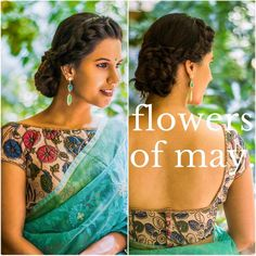 Gorgeous Floral Saree Blouse / Choli with open-back (n Hair's lovely too) via @topupyourtrip