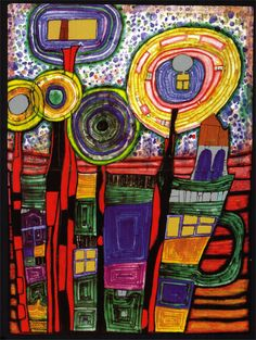 Art Paintings | ... Hundertwasser Paintings, 1991 silent flowers | Paintings Art Gallery