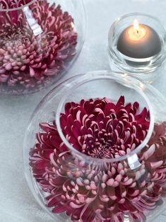 Sind diese riesige Chrysanthemen nicht einfach atemberaubend? Perfekt für eine absolut einfache Tischdeko: Blüten in ein Kugelglas legen und schon ist man fertig. Die gesamte Deko findet ihr auf dem Blog. https://www.weddingstyle.de/tischdekoration-seerosenlandschaft/?utm_campaign=coschedule&utm_source=pinterest&utm_medium=weddingstyle&utm_content=Tischdekoration%20Seerosenlandschaft