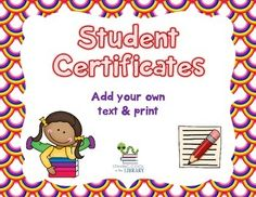 Freebie - Set of 7 student certificates/award to give to your students. Each certificate is editable so you can add your own text and print. Four certificates have a reading theme and three are more generic.