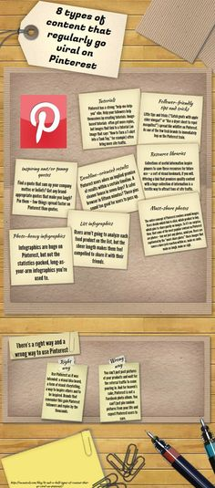 8 Types of Content that regularly go viral on Pinterest:  Tutorials - Tips & Tricks - Inspirations - Deadline-Oriented Results - Resources - Photo Infographics - List Infographics  - Must-Share Photos  http://socialoceanmedia.com/2013/03/04/what-goes-viral-on-pinterest/