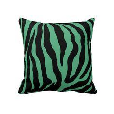 Green and Black Zebra Print Striped Cotton Pillow