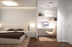 White Table Lamp Above White Chest Of Drawer Furniture And White Headboard Bed With Chocolate Quilt