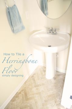 How to Install Herringbone Tile Floors | a complete tutorial for laying tile flooring and herringbone tile flooring by Simply Designing