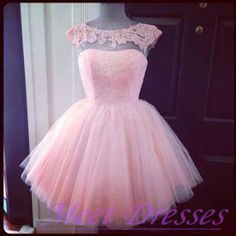 2015 Short Pink Cap Sleeves Lace Prom Dress Cheap Homecoming Dresses Party Dresses Sweet 16 Gowns For Teen Girls - Thumbnail 2
