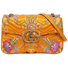 Gucci Women Medium Gg Marmont 2.0 Tokyo Print Bag (71,590 DOP) ❤ liked on Polyvore featuring bags, handbags, yellow, gucci bags, snap closure purse, orange handbags, pattern purse and single strap shoulder bag