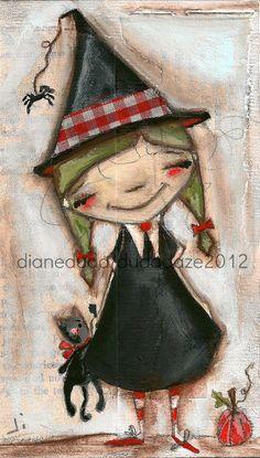 Cereal Box Art   ONe Little Witch  Original Artwork   ©dianeduda/dudadaze