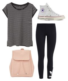 """Outfits for school"" by allieproffer on Polyvore featuring adidas Originals, MANGO, New Look and Converse"