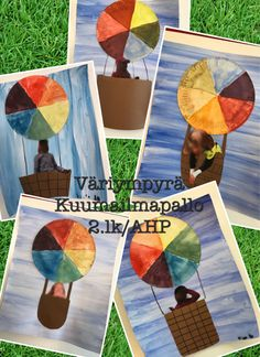 Väriympyrä kuumailpallo 2.lk/AHP Easy Crafts For Kids, Art For Kids, 5th Grade Art, Travel Themes, Color Theory, Elementary Art, Art Lessons, Little Ones, Art Projects