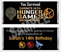 Hunger Games candy favor wrappers - these can be personalized and printed for your hunger games party.