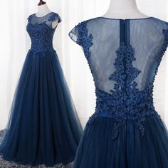 Aliexpress.com : Buy Navy Blue Prom Dresses 2016 Long Evening Gowns Scoop Short Sleeve Pleats Tulle with Applique Shining Beads Burgundy/Gold/Red from Reliable dress square suppliers on Life&Peace Dress Store  | Alibaba Group