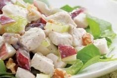 Chicken Waldorf Salad is a luscious and eye-pleasing chicken and vegetable salad recipe. Chicken mixed with fruits and vegetables, dressed with low-fa