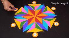 Simple Rangoli with Dots Simple Rangoli With Dots, Simple Rangoli Kolam, Simple Rangoli Border Designs, Free Hand Rangoli Design, Small Rangoli Design, Beautiful Rangoli Designs, Simple Rangoli Images, Kolam Rangoli, Easy Rangoli Designs Videos