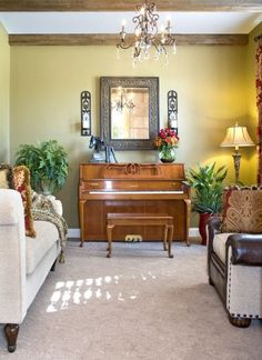 Love the mirror above the piano light trim is nice too for Piano room decor