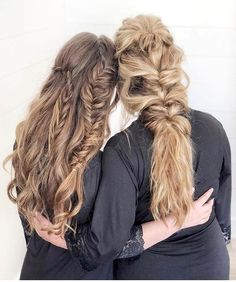 Every blonde needs a brunette bestie ‍♀️‍♀️...and AMAZING Hairspray! @hair_by_jennalyne used Texture Takeover + Flex Reflect to create these beautiful braids. Tag the blonde to your brunette and vice versa! | A great photo from Fave4