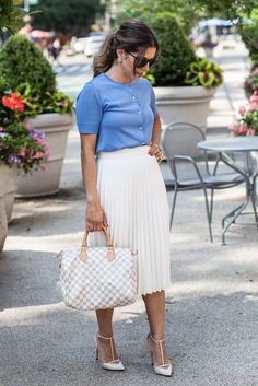 76ace472d533 louis vuitton speedy 30 ann taylor zara pleated skirt white skirt damier  azur nyc blogger what