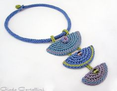 Necklace, cotton yarn, fiber, mid blue, light blue, lilac, lavender, pastel, apple green, crochet, 100% Vegan, crystals, ethnic, gypsy