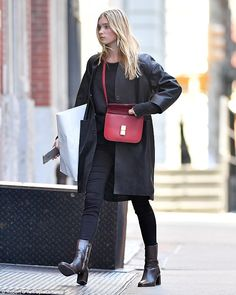 Inject a pop of color into your accessories with a red bag like Elsa  Click 'visit' to buy it now   #DailyMail