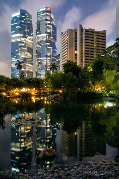 The Lippo Centre is reflected in the waters of a pond in Hong Kong Park in the Admiralty district.