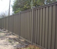 Come to Tim's Fences and try our Trex fencing. This unique composite is low maintenance and has high durability. Trex Fencing, Outdoor Spaces, Outdoor Decor, Outdoor Ideas, Grey Fences, Pearland Tx, Vinyl Railing, Front Fence, Backyard
