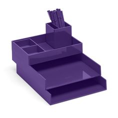 Poppin Purple Super Stacked Desk Accessories Cool Office Supplies Workhy