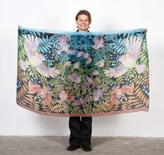 Large Artistic wing Scarf Paradise Birds Art Fashion by RUTA13