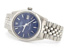 Pre-Owned Mens Rolex Stainless Steel Datejust with a Blue Dial 1600 - Vintage Rolex, Vintage Men, Old Watches, Watches For Men, Stainless Steel Rolex, Telling Time, Rolex Submariner, Bracelet Watch