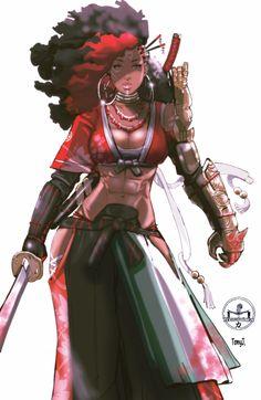 Female Character Design, Character Design Inspiration, Character Art, Afro Samurai, Samurai Art, Black Love Art, Black Girl Art, Black Anime Characters, Female Characters