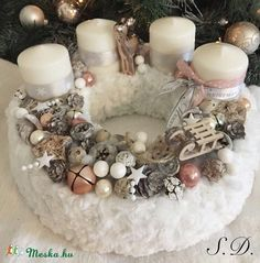 Christmas Advent Wreath, Xmas Wreaths, Winter Christmas, Christmas Time, Advent Box, Xmas Decorations, Diy And Crafts, Candles, Wreaths