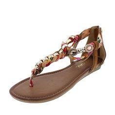 Liliana Gemstone Hardware Embellished T-strap Flat Sandal Triumph-4 *** For more information, visit image link.