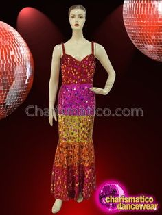 CHARISMATICO Colorful Warm Toned Iridescent Sequin Banded Drag Queen Pageant Gown  #charismatico #dragqueenoutfits  #dragoutfits #dragqueencostume #dragcostume Drag Queen Costumes, Drag Queen Outfits, Sequin Gown, Pageant Gowns, Dance Wear, Iridescent, Sequins, Colorful, Warm