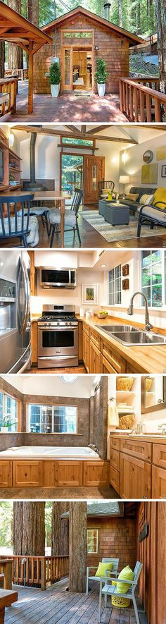 Tiny House Living: A 470 sq ft retreat in Monte Rio, California. Tiny House Cabin, Tiny House Living, Tiny House Plans, Tiny House Design, Tiny Cabins, Casas Containers, Tiny House Movement, Tiny Spaces, Little Houses