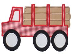 Log Truck Applique Design Sizes include: hoop x hoop x hoop x This design also comes with a zig zag finish in each size Applique Momma, Boy Cards, Janome, Applique Designs, Quilt Blocks, 4x4, Transportation, Trucks, Embroidery