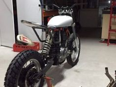 Custom DR650 tracker - TPCustom Ktm 525 Exc, Ktm Exc, Tracker Motorcycle, Retro Motorcycle, White Tv, Black And White Colour, Custom Motorcycles, Custom Bikes, Motorcycles