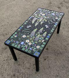 Rectangle, steel powder coated frame, floral mosaic table. Individually handmade ceramic mosaic art tiles.