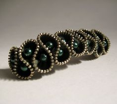 Dark Green Pearl Beads Zipper Hair Pin by redyarn on Etsy