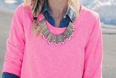 love the chambray under a pink sweater