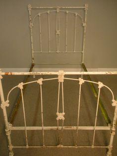 antique off white cast iron shabby chic twin bed frame massachusetts ebay