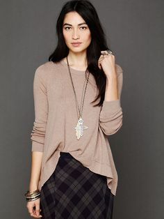 Free People Long Sleeve Boxy Lace Back Pullover, $108.00