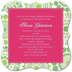 Spring Swirls: Begonia - Baby Shower Invitations in Begonia | Hello Little One