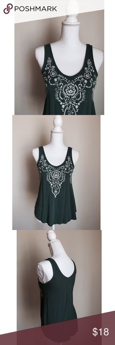 Green Embroidered Top Dark green tank with beautiful floral embroidery on the collar ⚜ love on a hanger Tops Tank Tops