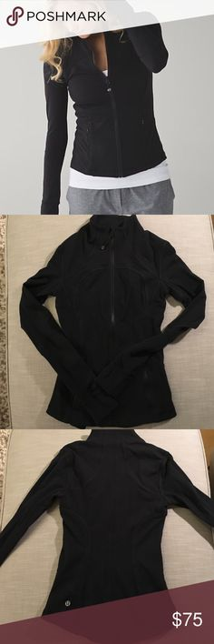 Lululemon Jacket Beautiful black lululemon jacket... I no longer wear a size 2 so decided to sell. In great condition. A little very minor piling on a few spots on outside seems. Some piling on a couple spots on inside seems. Pet and smoke free home lululemon athletica Tops
