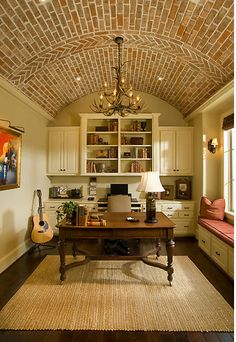 Brick ceiling in a study