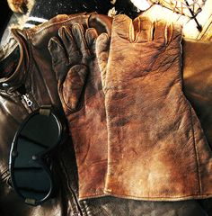 Rare Vintage 1930's 40's leather biker gloves by IronCrowVintage