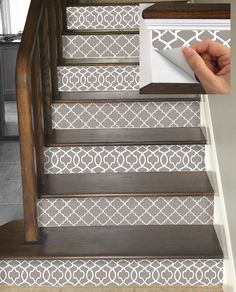 Stair Riser Vinyl Strips Removable Sticker Peel & Stick : – Before and Afters Remodel Ideas Stair Makeover, Stair Risers, Diy Stair, Banisters, Basement Stairs, Tile Stairs, Stairs Vinyl, Wooden Stairs, Furniture