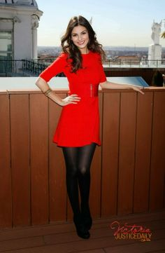 Little red dress with black tights and shoes